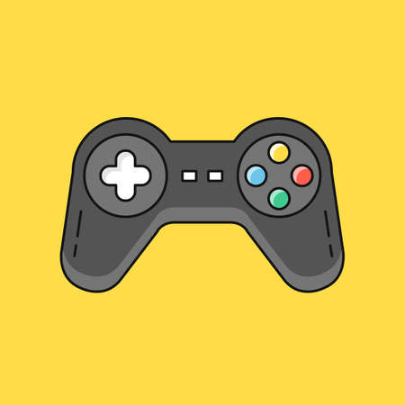 Gamepad. Joystick, game controller, joypad, playing games concepts. Modern flat line design. Vector illustration