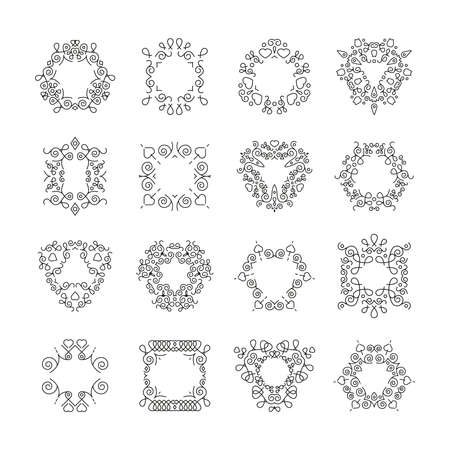 Vector ornaments set. Decorative calligraphic design elements. Black color. Vector illustration isolated on white background