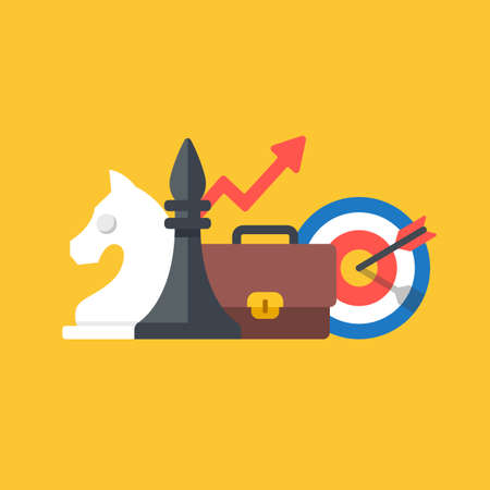 Business plan, business strategy, marketing concepts. Chess pieces, briefcase, target and arrow. Modern flat design graphic elements. Vector illustration