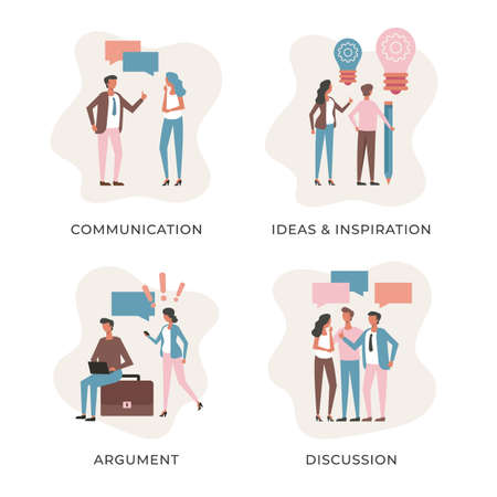Business people set. Communication, ideas and inspiration, argument, discussion concepts. Flat people. Modern vector illustration
