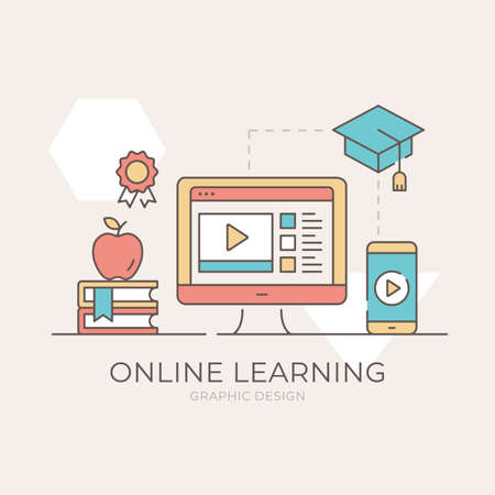 Online learning. Computer and online tutorials website, mobile phone and education app, graduation cap, books, apple, award icon. E-learning, elearning concept. Modern flat design. Vector illustration