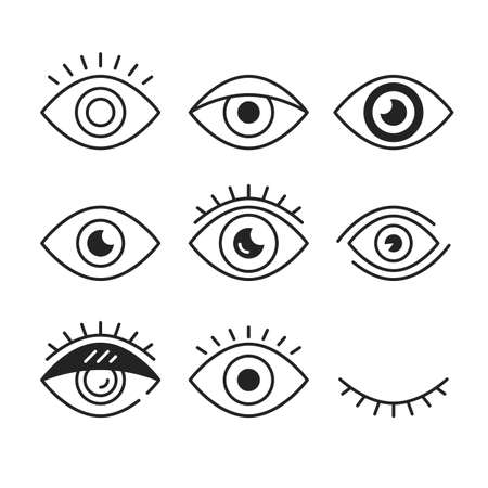 Eye icons. Open and closed eyes symbols. Outline style, linear graphic design elements. Vector line icons set