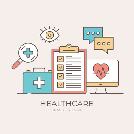 Healthcare concept. Clipboard with checklist, computer with heart rate symbol, first aid kit, speech bubbles, eye and magnifying glass with cross symbols. Modern flat design. Vector illustration