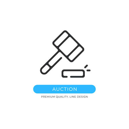 Auction icon. Gavel, sale, judge hammer, justice, court, legal system concepts. Premium quality graphic design element. Modern sign, linear pictogram, outline symbol, simple vector thin line icon Ilustração