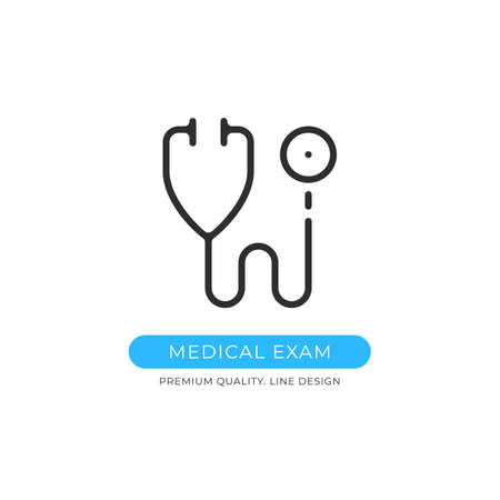 Medical exam icon. Stethoscope, medical check up, healthcare, medicine, health checkup concepts. Premium quality graphic design. Sign, linear pictogram, outline symbol, simple vector thin line icon