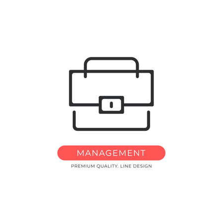 Management icon. Briefcase, portfolio, office, business concepts. Premium quality graphic design element. Modern sign, linear pictogram, outline symbol, simple vector thin line icon