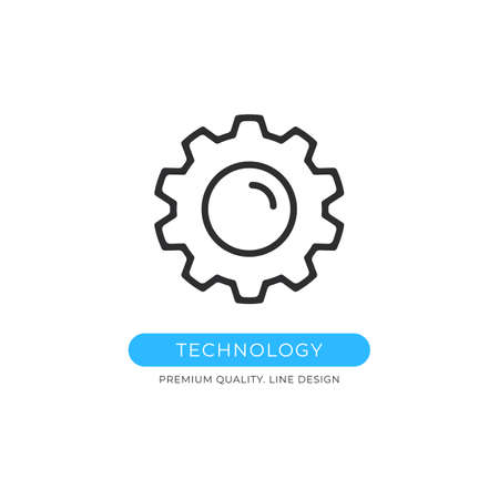 Technology icon. Cog, gear, cogwheel, computer engineering concepts. Premium quality graphic design element. Modern sign, linear pictogram, outline symbol, simple vector thin line icon