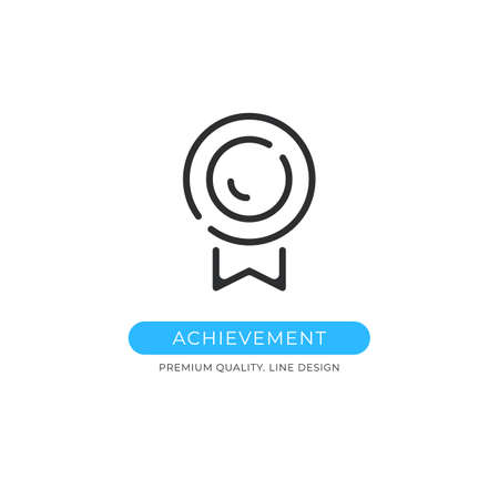 Achievement icon. Medal, reward, prize, success, award concepts. Premium quality graphic design element. Modern sign, linear pictogram, outline symbol, simple vector thin line icon