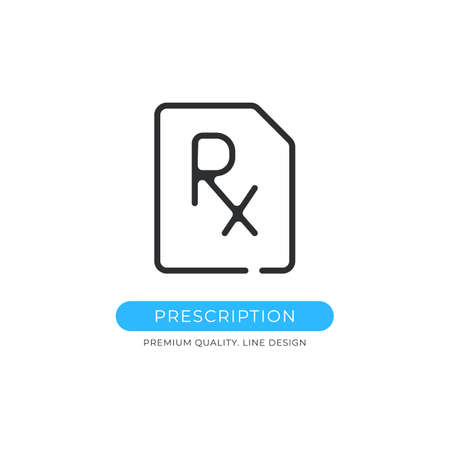 Prescription icon. Medical prescription, healthcare, medical document, rx, pharmacy concepts. Premium quality graphic design. Sign, linear pictogram, outline symbol, simple vector thin line icon Ilustração