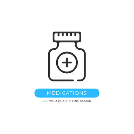 Medications icon. Pill bottle, treatment, drugs, healthcare, pharmacy concepts. Premium quality graphic design element. Modern sign, linear pictogram, outline symbol, simple vector thin line icon Ilustração