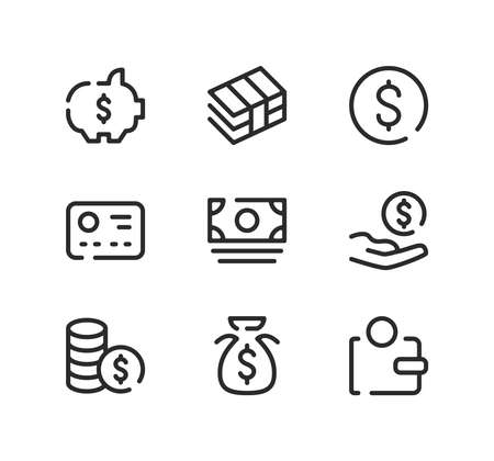Money line icons set. Modern graphic design concepts, black stroke linear symbols, simple outline elements collection. Vector line icons