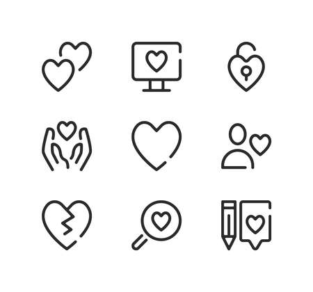 Love line icons set. Modern graphic design concepts, black stroke linear symbols, simple outline elements collection. Vector line icons Ilustração