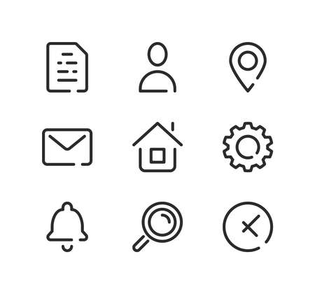 Basic line icons set. Modern graphic design concepts, black stroke linear symbols, simple outline elements collection. Vector line icons Ilustração