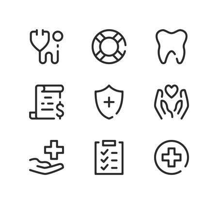 Health insurance line icons set. Modern graphic design concepts, black stroke linear symbols, simple outline elements collection. Vector line icons