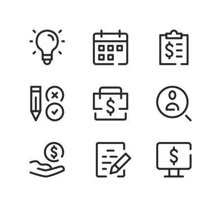 Business line icons set. Modern graphic design concepts, black stroke linear symbols, simple outline elements collection. Vector line icons Ilustração
