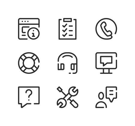 Customer service line icons set. Modern graphic design concepts, black stroke linear symbols, simple outline elements collection. Vector line icons