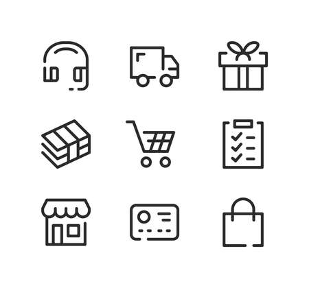 Shopping line icons set. Modern graphic design concepts, black stroke linear symbols, simple outline elements collection. Vector line icons