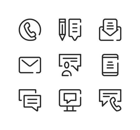 Communication line icons set. Modern graphic design concepts, black stroke linear symbols, simple outline elements collection. Vector line icons