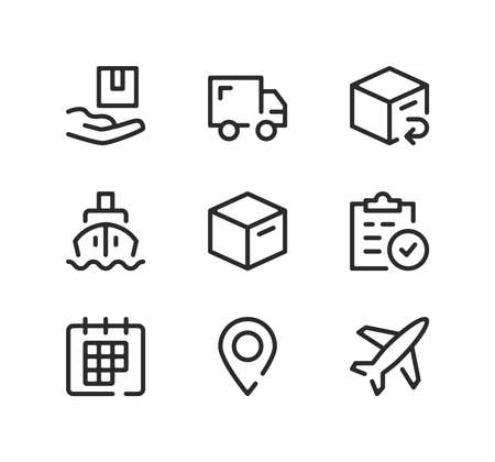 Delivery line icons set. Modern graphic design concepts, black stroke linear symbols, simple outline elements collection. Vector line icons Ilustração