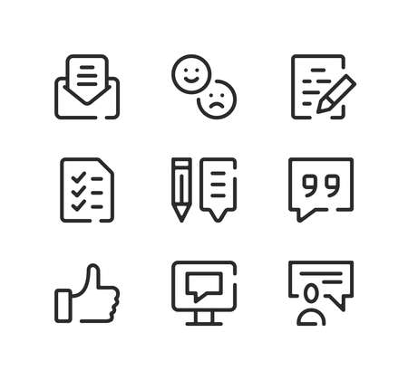 Testimonials line icons set. Modern graphic design concepts, black stroke linear symbols, simple outline elements collection. Vector line icons