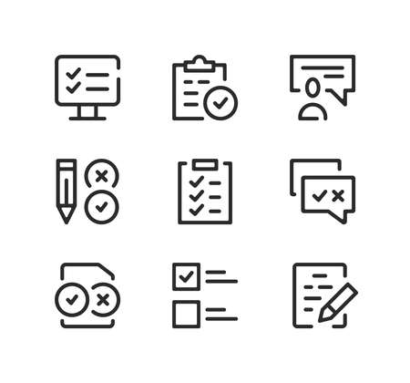 Examination line icons set. Modern graphic design concepts, black stroke linear symbols, simple outline elements collection. Vector line icons