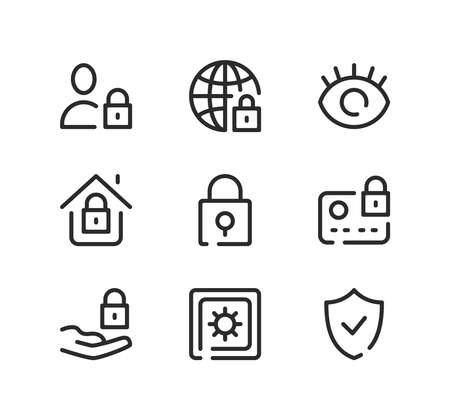 Protection line icons set. Modern graphic design concepts, black stroke linear symbols, simple outline elements collection. Vector line icons
