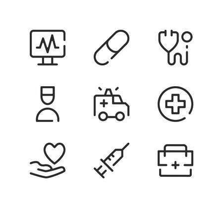Emergency care line icons set. Modern graphic design concepts, black stroke linear symbols, simple outline elements collection. Vector line icons