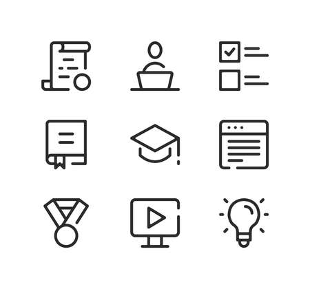 Online education line icons set. Modern graphic design concepts, black stroke linear symbols, simple outline elements collection. Vector line icons Ilustração