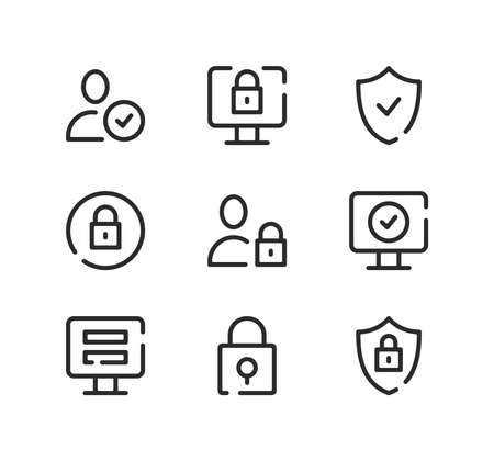 Account security line icons set. Modern graphic design concepts, black stroke linear symbols, simple outline elements collection. Vector line icons Ilustração