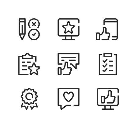 Customer satisfaction line icons set. Modern graphic design concepts, black stroke linear symbols, simple outline elements collection. Vector line icons Ilustração