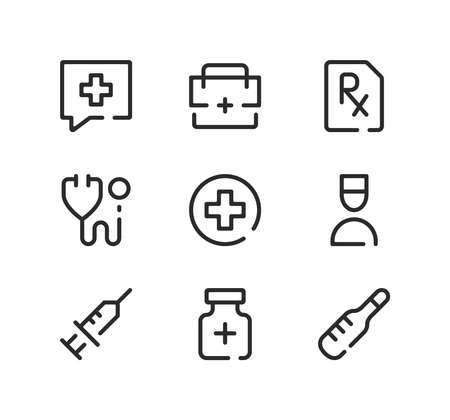 Healthcare line icons set. Modern graphic design concepts, black stroke linear symbols, simple outline elements collection. Vector line icons