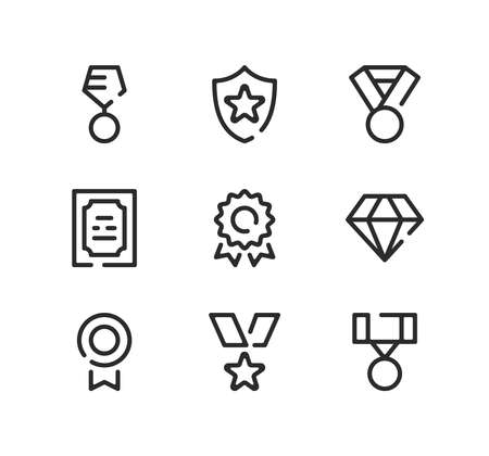 Award line icons set. Modern graphic design concepts, black stroke linear symbols, simple outline elements collection. Vector line icons