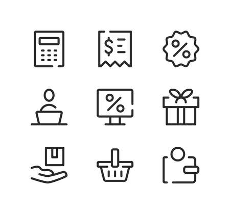 Online store line icons set. Modern graphic design concepts, black stroke linear symbols, simple outline elements collection. Vector line icons Ilustração
