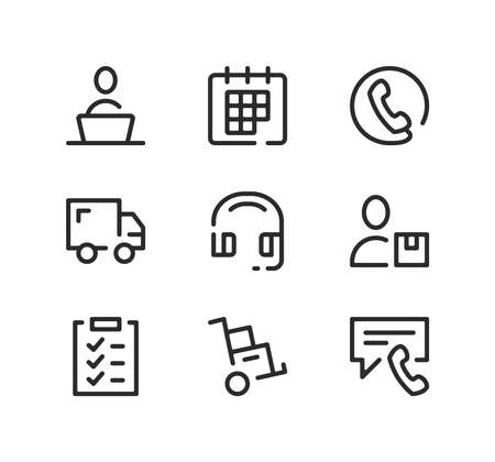 Delivery service support line icons set. Modern graphic design concepts, black stroke linear symbols, simple outline elements collection. Vector line icons Ilustração