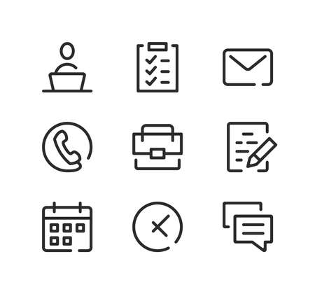 Office line icons set. Modern graphic design concepts, black stroke linear symbols, simple outline elements collection. Vector line icons