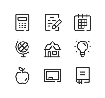 School line icons set. Modern graphic design concepts, black stroke linear symbols, simple outline elements collection. Vector line icons