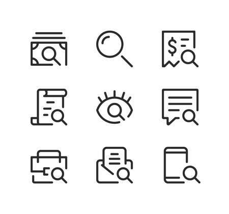 Search line icons set. Modern graphic design concepts, black stroke linear symbols, simple outline elements collection. Vector line icons