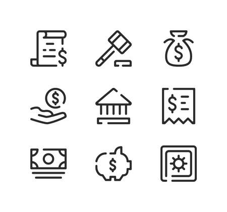 Banking line icons set. Modern graphic design concepts, black stroke linear symbols, simple outline elements collection. Vector line icons