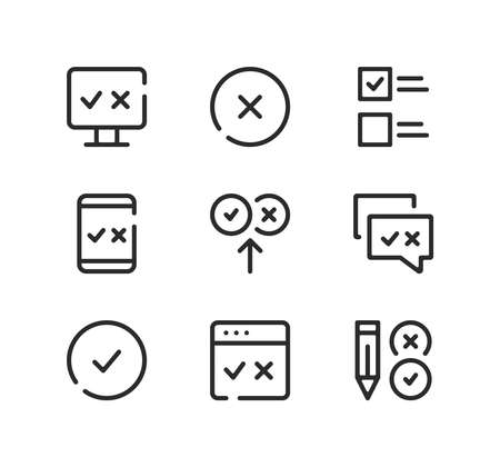 Quiz line icons set. Modern graphic design concepts, black stroke linear symbols, simple outline elements collection. Vector line icons