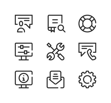Technical support line icons set. Modern graphic design concepts, black stroke linear symbols, simple outline elements collection. Vector line icons Ilustração