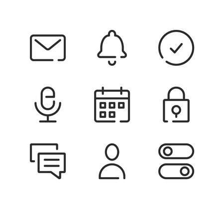 Mobile app interface line icons set. Modern graphic design concepts, black stroke linear symbols, simple outline elements collection. Vector line icons