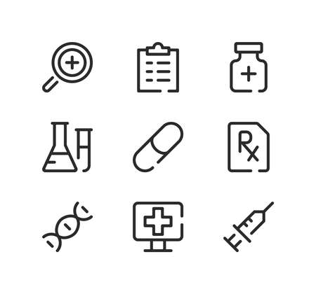 Pharmacy line icons set. Modern graphic design concepts, black stroke linear symbols, simple outline elements collection. Vector line icons