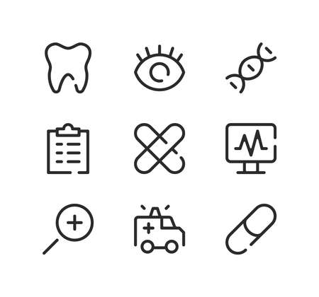 Medical line icons set. Modern graphic design concepts, black stroke linear symbols, simple outline elements collection. Vector line icons
