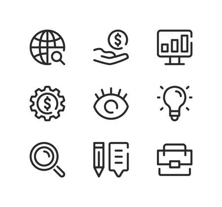SEO line icons set. Modern graphic design concepts, black stroke linear symbols, simple outline elements collection. Vector line icons Ilustração