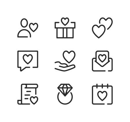 Wedding line icons set. Modern graphic design concepts, black stroke linear symbols, simple outline elements collection. Vector line icons