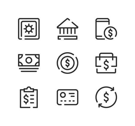 Financial line icons set. Modern graphic design concepts, black stroke linear symbols, simple outline elements collection. Vector line icons Ilustração