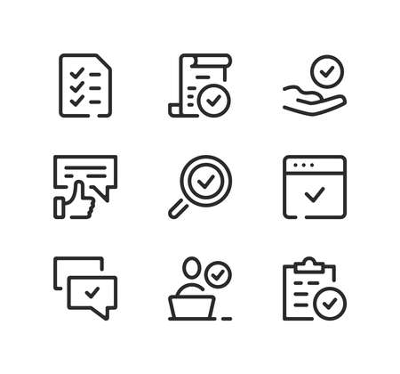Approve line icons set. Modern graphic design concepts, black stroke linear symbols, simple outline elements collection. Vector line icons