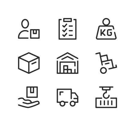 Warehouse line icons set. Modern graphic design concepts, black stroke linear symbols, simple outline elements collection. Vector line icons