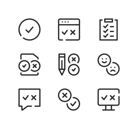 Survey line icons set. Modern graphic design concepts, black stroke linear symbols, simple outline elements collection. Vector line icons