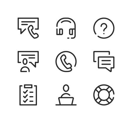Call center line icons set. Modern graphic design concepts, black stroke linear symbols, simple outline elements collection. Vector line icons